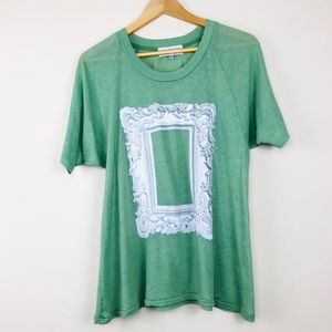 Wildfox Green Gray Antique Frame Graphic Tee (S)